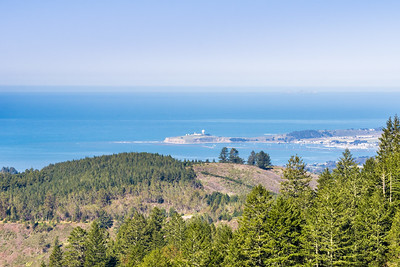 Clear views towards Pillar Point Harbor and Air Force Station from the trails of Purisima Creek Redwoods OSP; Farallon Islands are also visible;