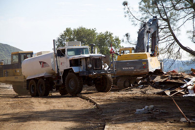 One of the key tools on site is the water truck.  Two water trucks are available to help keep dust to a minimum to provide for the health and safety of demolition workers and public.