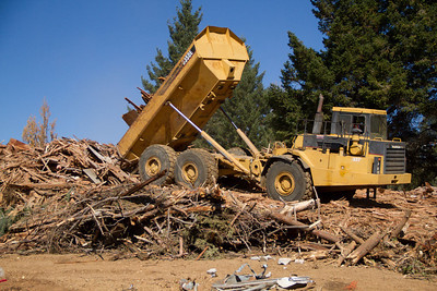 Clean wood from demolished buildings will be ground into mulch and will remain onsite for erosion control.