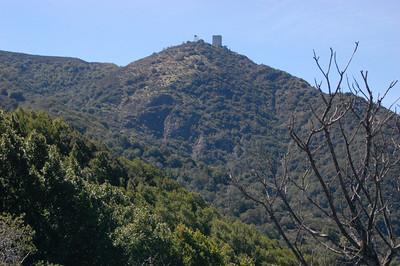 View of radar tower from Mount Umunhum Road
