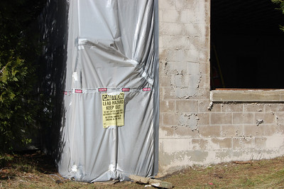 Containment on exterior of recreation building for lead based paint removal