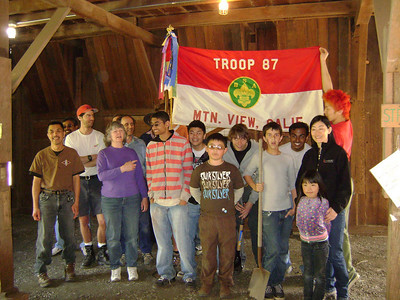 Deer Hollow Farm, Rancho San Antonio OSP  A scout group after resurfacing the White Barn. Gayan is the scout with the horizontal shirt. The guy holding the troop's flag dyed his hair to match the flag. Pizza was one of the motivating forces.