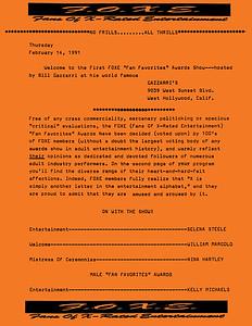FOXE Awards at Gazzarri's, 1991 - Program 1 of 4 Pgs