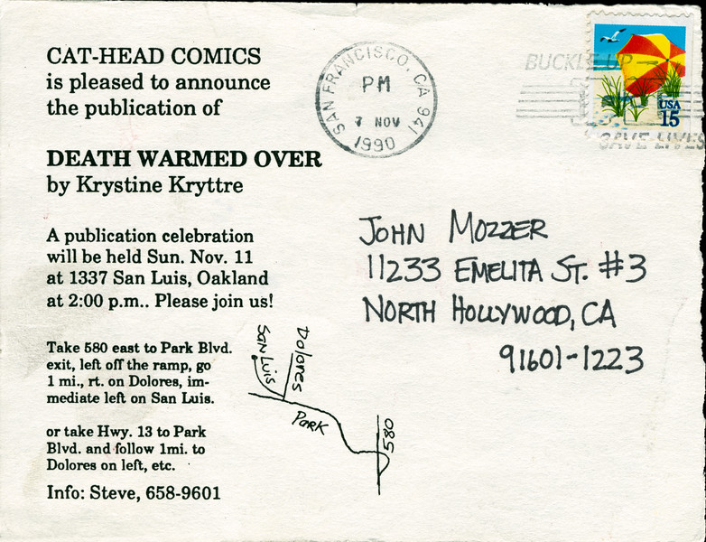 Death Warmed Over by Krystine Kryttre Publication Party, Oakland, CA, 1990 - Invite Side 2