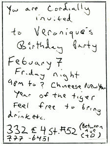Veronique's Birthday Party, East Village, NYC, 1986-Invite Side 2
