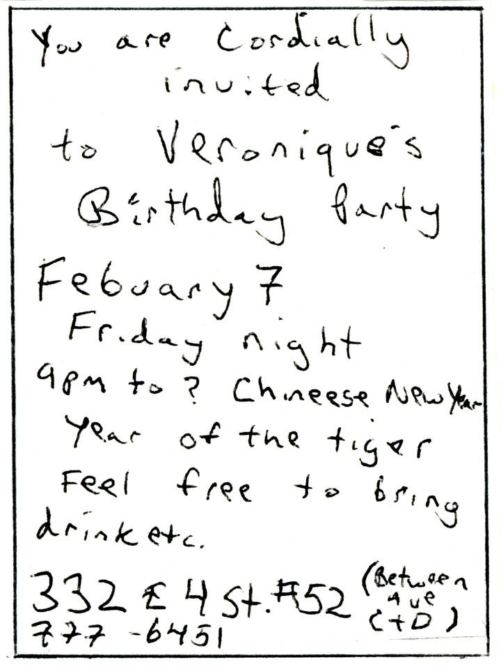 Veronique's Birthday Party, East Village, NYC, 1986-Invite Side 2