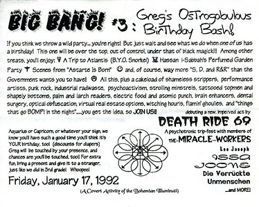 Victoria Byers' Big Bang #3: Greg's Ostrogobulous Birthday Bash, Los Angeles, 1992 - Invite