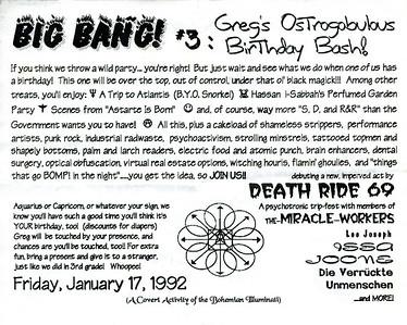 Victoria Byers' Big Bang #3: Greg's Ostrogobulous Birthday Bash, Los Angeles, 1992 - Invite
