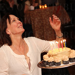 Patti Moore prepares to blow out her birthday candles.