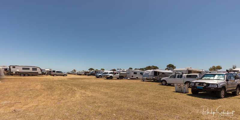 NAMBUNG, WESTERN AUSTRALIA. AUSTRALIA - OCT 25 2019: Large  numbers of country music lovers in SUV's and RV's camp in fields while attending  a nearby Country Music and Arts Festival.