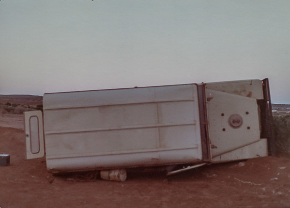 Landrover on its side on the Useless Loop Road -  Aug 74