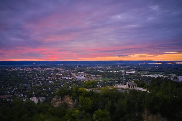 2020 UWL Nightime Aerials Grandad Bluff and Campus 0016