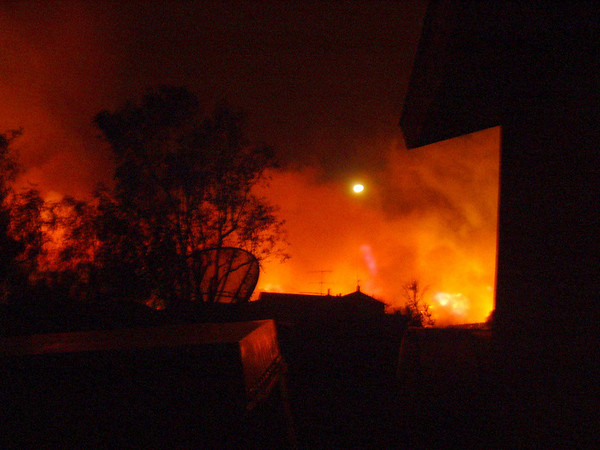10/13 AM - fire heading for Lopez canyon. This was the monster that destroyed a mobile home park in Sylmar -