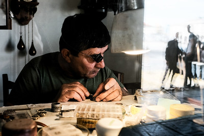 A watchmaker repairs a watch in Kutaisi, Georgia.