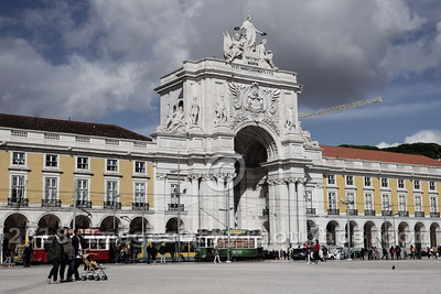 A view of Lisbon's Praça do Comércio, Commercial Plaza, a waterside public plaza on the Tagus or Tejo River.