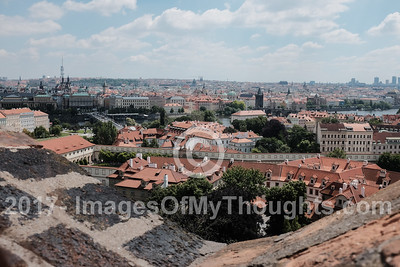 A view of the rooftops in Mala Strana on the left, west, bank of the river Vltava, on the slopes just below the Prague Castle.