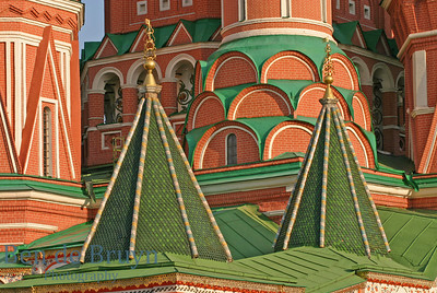 Vibrant colours in sunshine of orthodox church Cathedral St. Vasily the Blessed (Saint Basil's) on Red Square in Moscow Russia