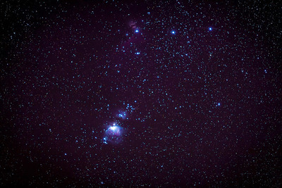 Orion Constellation ISO 3200, 30 seconds, 200mm f2.8 Tracked piggy-backed on the telescope.