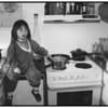 Ayoe på køkkenbordet  i Farum 1991