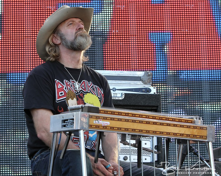 """Legendary steel guitar player """"Cowboy"""" Eddie Long with Jamey Johnson at the Farm Aid 26th Anniversary Concert at Livestrong Sporting Park on August 13, 2011 in Kansas City, Kansas"""