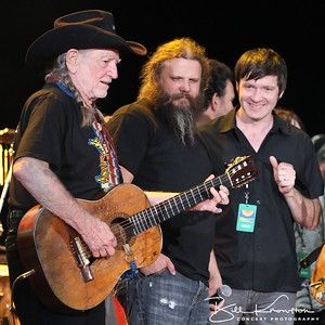 Willie Nelson and Jamey Johnson at the Farm Aid 26th Anniversary Concert at Livestrong Sporting Park on August 13, 2011 in Kansas City, Kansas