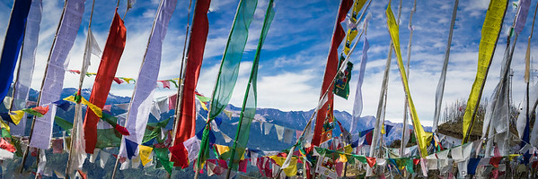 Prayer flags and Himilayas, Chele Pass