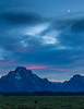 Moon over Grand Tetons