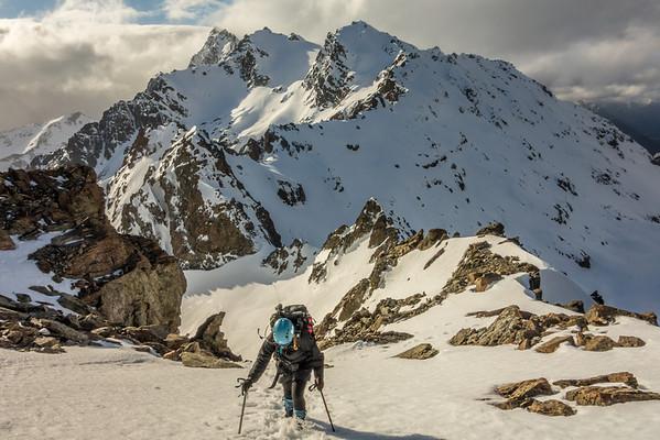 Climbing Bold Peak. Mount Bonpland in the back