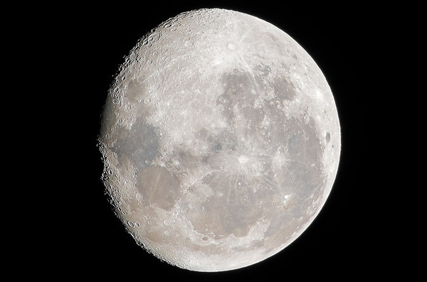 Moon over Mt Cargill, Dunedin, 28 February 2013