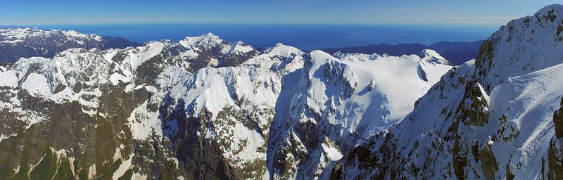 Panorama from the summit ridge of Mount Tutoko