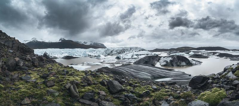 Dramatic Panoramic of Svinafellsjokull Glacier and Hvannadalshnukur Peak in East Iceland