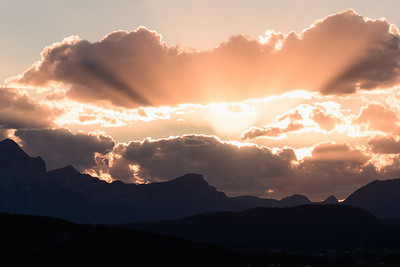 Sun sets over the Canadian Rocky Mountains