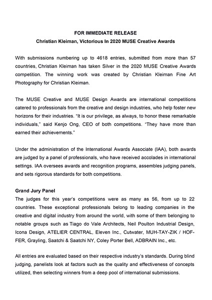 MUSE Awards Press Release