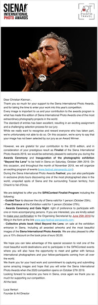 FINALIST - Siena International Photo Awards 2019