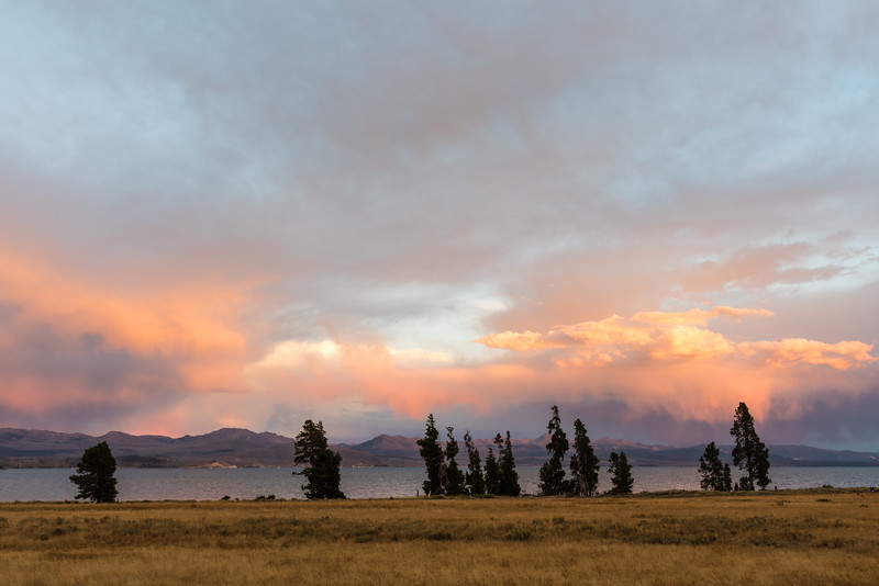 Glorious sunset over Yellowstone Lake taken from Lake Lodge. Some of the great color is attributable to the Berry Fire.