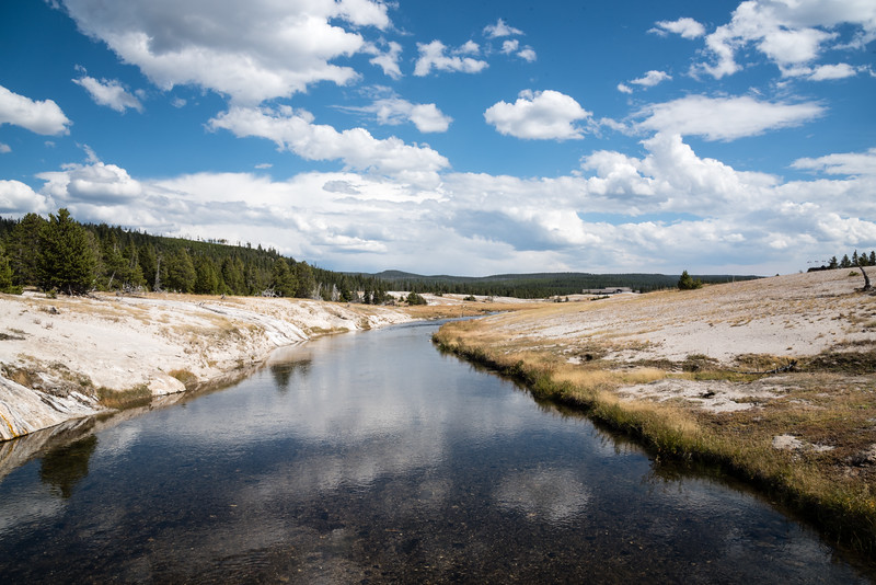 Firehole river in the upper geyser basin area near Old Faithful Lodge