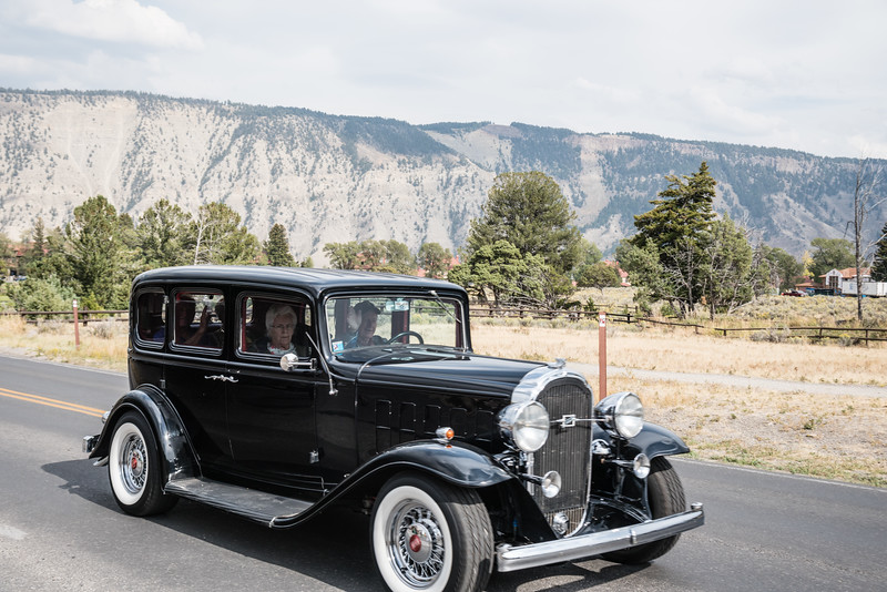 Old car in Mammoth Hot Springs