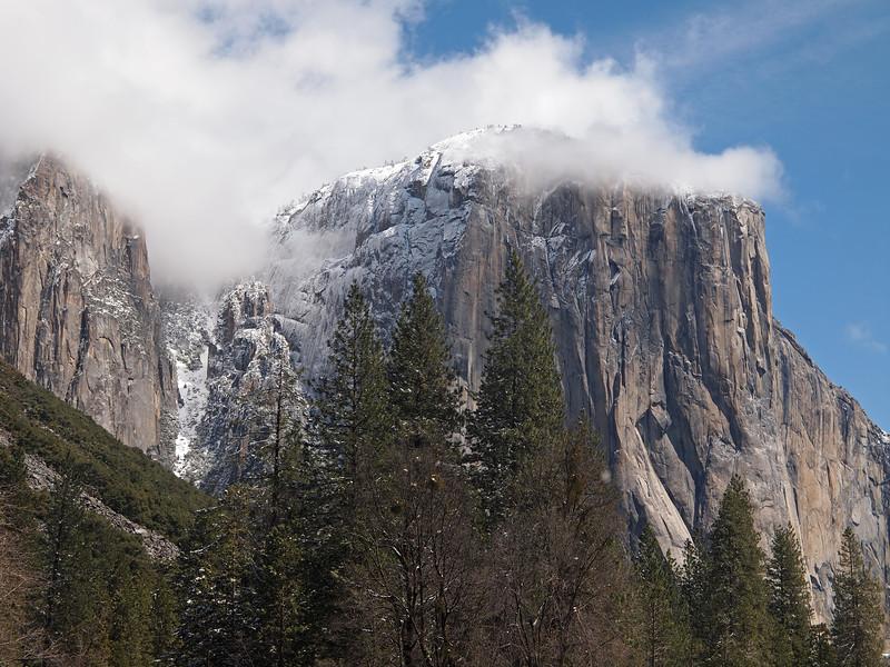 Western face of El Capitain in Yosemite Valley - 9 Apr 2011