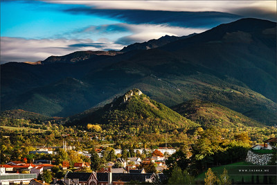View to old medieval castle and beautiful autumnal valley, sunset, Foix