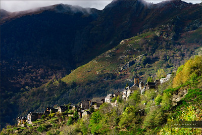 Old medieval city high in the mountains, Pyrenees, Canejan