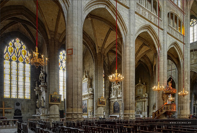 Majestic Auch cathedral interior perspective wide angle view