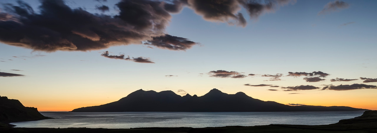 Moonlight over Rum and Eigg; Hebridean islands