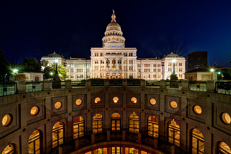 A view of the Texas State Capital from the Capital Extension in Austin, Texas on August 16, 2015.