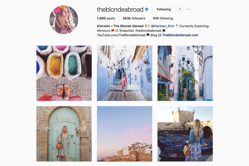 Travel with Kiersten on Instagram
