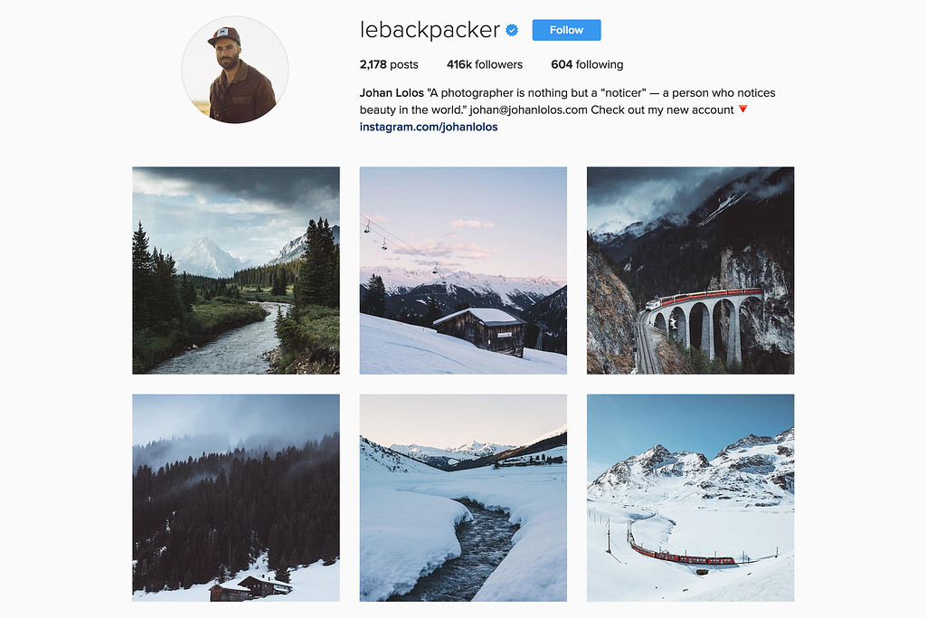 Travel with Johan on Instagram