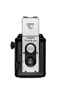 Vintage Camera Argus Seventy-Five Front View Hood Open