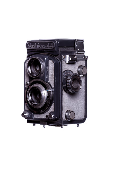 Vintage Camera Yashica-44 Left Side View Hood Closed