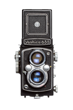 Vintage Camera Yashica-635 Front View Hood Open
