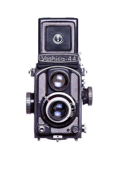 Yashica-44 Camera Front View Hood Open