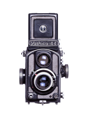 Vintage Camera Yashica-44 Front View Hood Open